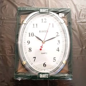 Silver Oval Wall Kitchen Clock